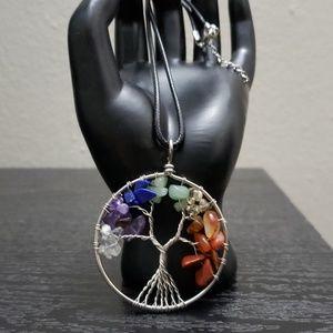 Jewelry - NWT Tree of life 7 Chakra pendant & necklace